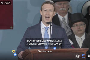 Facebook does a hilariously awful job captioning Mark Zuckerberg's commencement speech