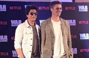 in pics : shah rukh khan expresses his fear of hollywood taking over bollywood to brad pitt