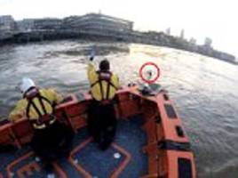 rnli lifeboat crew save man from drowning in river thames