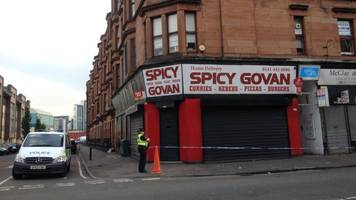 police cordon off shops and flats after govan incident