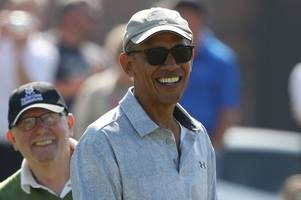 Watch Barack Obama enjoy round of golf as he soaks up sun in St Andrews after jetting in for charity dinner