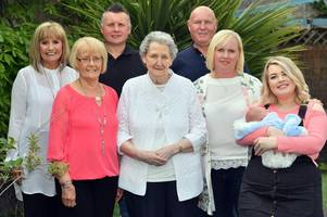five generations of the same family (from baby to great great grandmother) compare their childhoods