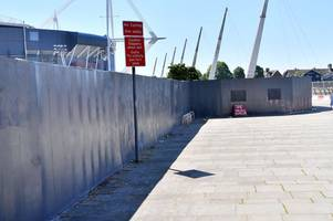 The wall of graffiti near the Principality Stadium has been covered over ahead of Champions League final