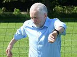 Jeremy Corbyn joins football session before FA Cup final