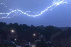 incredible video shows lightning strike gipsy patch lane in stoke gifford, bristol