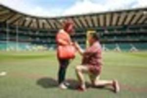 wedding proposal on the pitch before exeter chiefs' twickenham...