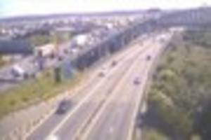m25 accident at dartford crossing causing ten miles of queues in...