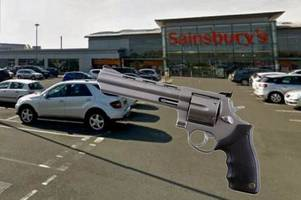 gunman blasts victim in shooting outside a sainsbury's store in northern ireland