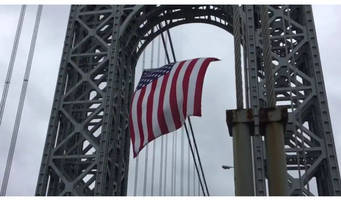 usa's 'largest free-flying flag' waves at gwb for memorial day (video)