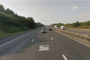 m1 northbound closed between junctions 14 and 15 after vehicle...