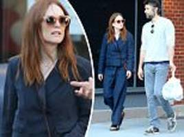 make-up free julianne moore cuts a casual figure in nyc