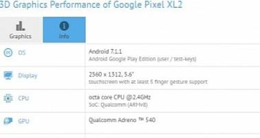 google pixel xl 2 with snapdragon 835 allegedly stops by gfxbench