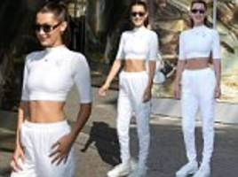 bella hadid shows off her sleek frame and tight abs