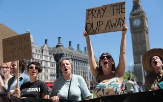 in pictures: anti-dup protesters gather in london