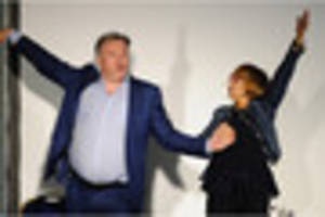 ed balls takes questions from tv's ann robinson as stoke-on-trent...