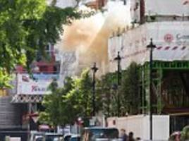 paving stones blown up in explosion just yards from bbc