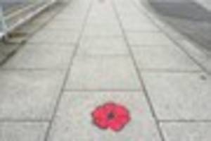 poppies painted on pavements between derby train station and the...