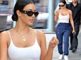 Kim Kardashian wears flimsy vest with no bra