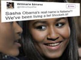 twitter discovers that sasha obama's real name is natasha