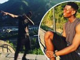 man united star paul pogba dabs on the great wall of china