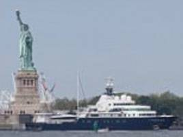 russian billionaire's yacht blocking view of lady liberty