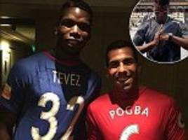 paul pogba meets up with former team mate tevez in china
