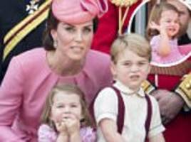 trooping the colour: royal children join queen for flyover