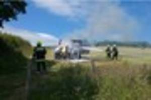 Tractor severely damaged by fire in South Devon field