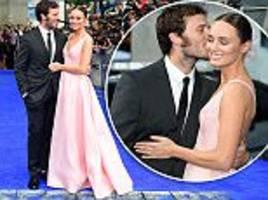 laura haddock gets a kiss from adoring husband sam claflin