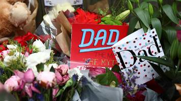 in pictures: father's day cards left for fire victims