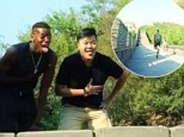 Paul Pogba has running race on Great Wall of China