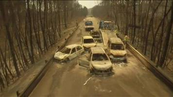 Portugal forest fire: Drone footage shows burnt-out cars