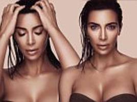 kim kardashian shows off her chest in kkw makeup portraits