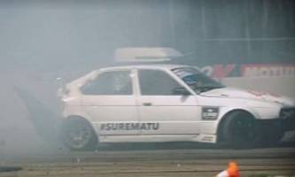 Latvian Drifters Make an E34 BMW 5 Series Compact in 5 Seconds