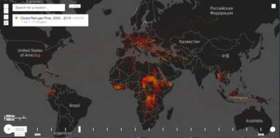 Mesmerizing maps show the global flow of refugees over the last 15 years