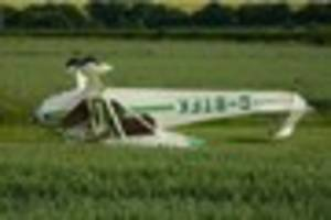 Plane ended up on its roof after crashing in Nottinghamshire...