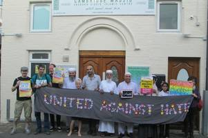 campaigners join muslims at cambridge mosque to show support after london attack