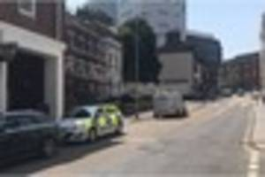 Lorry and car crash in Exeter city centre