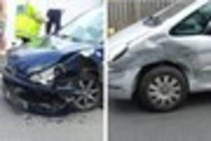two car collision at entrance to bideford college