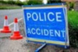 Road closed after crash involving mobility scooter and van