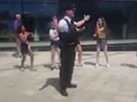 Belfast police officer joins in with dance performance