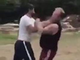 'irish travellers' pummel each other in brutal fist fight