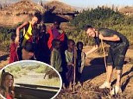 morgan schneiderlin and wife camille take safari honeymoon