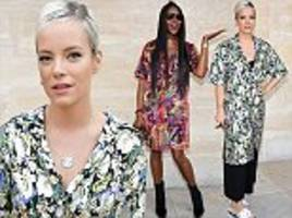 lily allen and naomi campbell don shirt dresses in paris