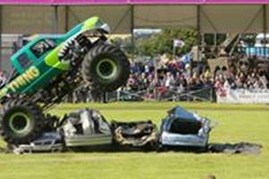 watch death-defying stunts and cars get crushed by monster trucks at truckfest 2017