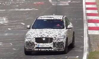 listen to the jaguar f-pace svr engine as it blasts down the nurburgring