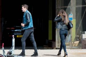 hearts target kyle lafferty pictured at tynecastle as he holds talks with ian cathro over summer move to jambos