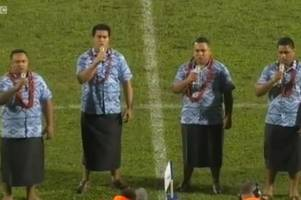 the welsh national anthem sung like you've never heard it before ahead of rugby match in samoa