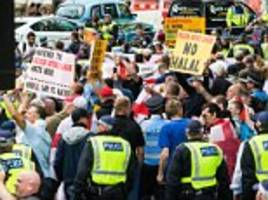 edl and anti-fascist groups square up in central london