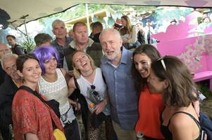 rock star welcome for jeremy corbyn at glastonbury as he delivers rousing pyramid stage speech